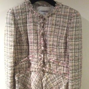 Chanel pink multi color tweed jacket with sequins